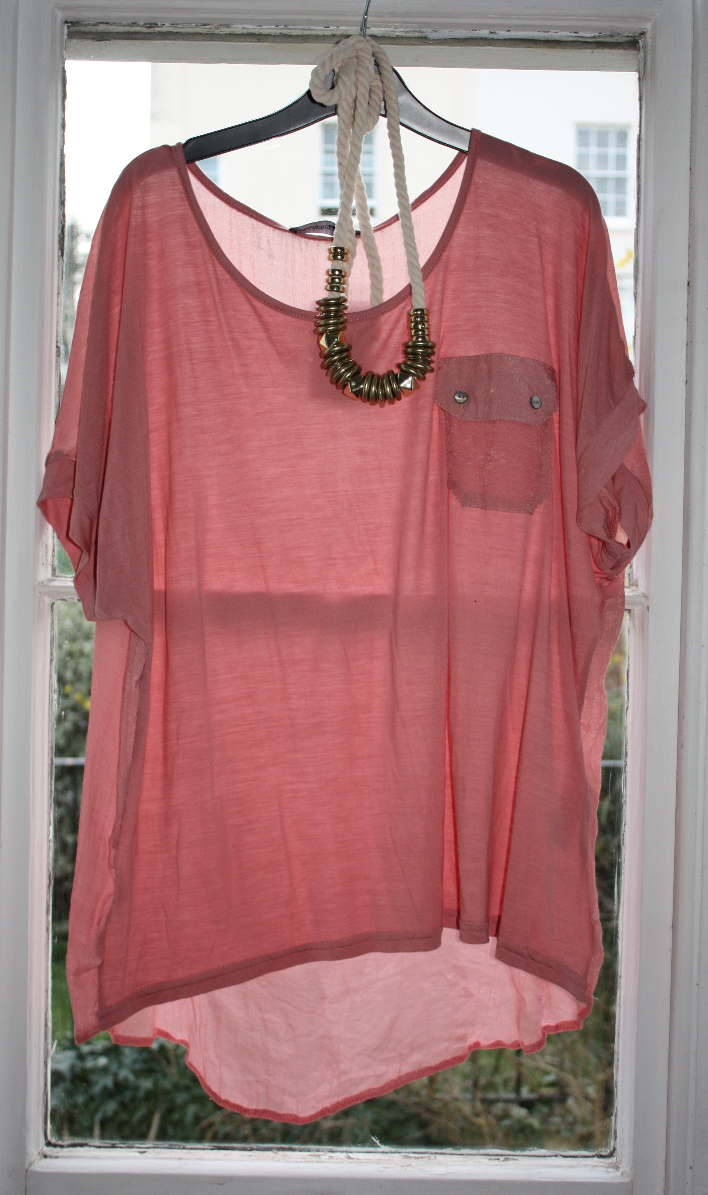 salmon pink jersey top