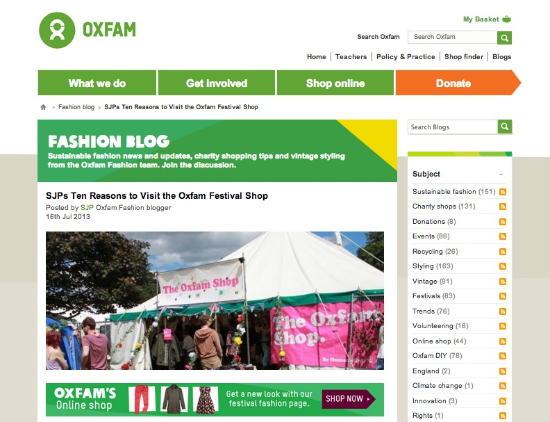 Oxfam Fashion Blog homepage