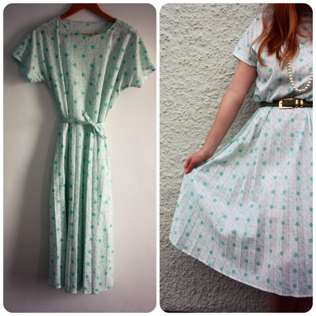 Mint green spotty dress