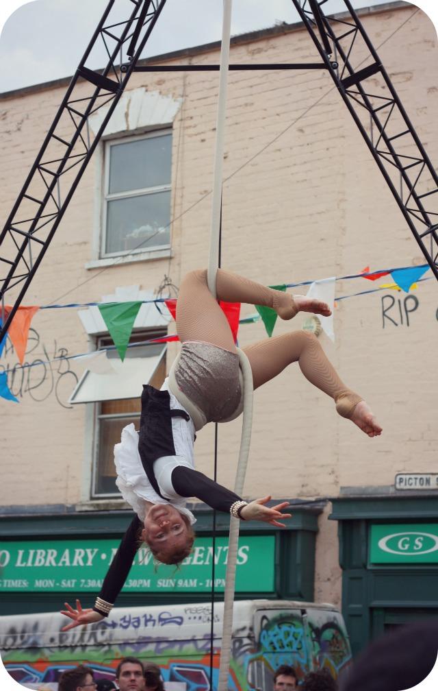 Circus skills at Picton Street Christmas market