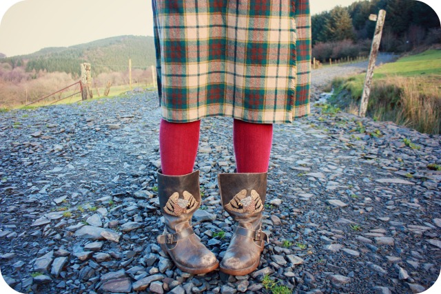 Thrift shop skirt and brown eagle boots