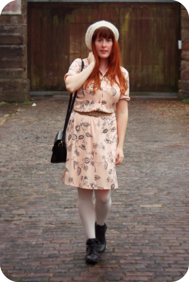 Peach and floral charity shop dress.jpg