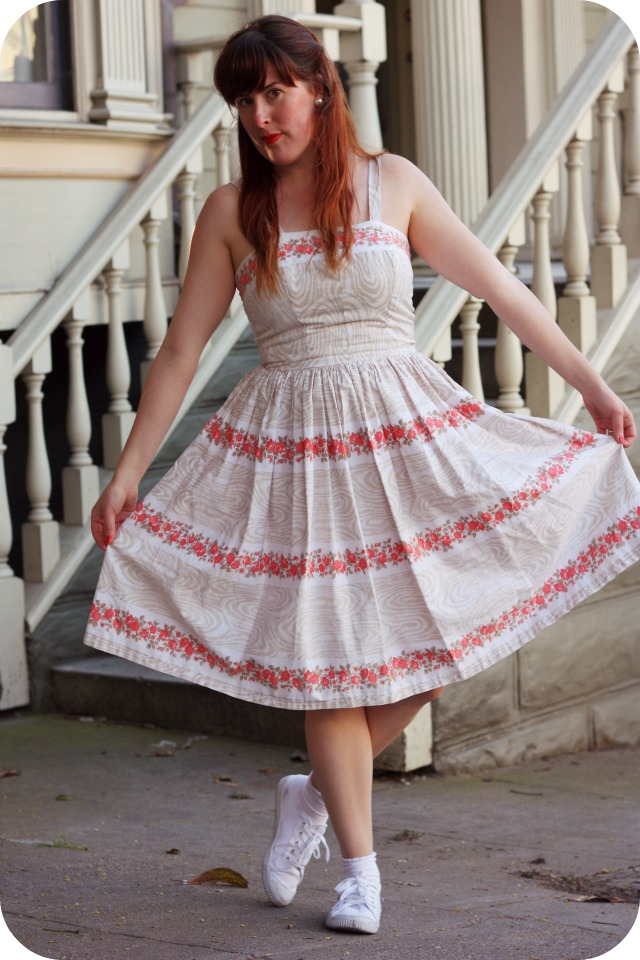 Fifties day dress with peach flowers.jpg