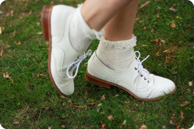 Matalan white brogues and ankle socks