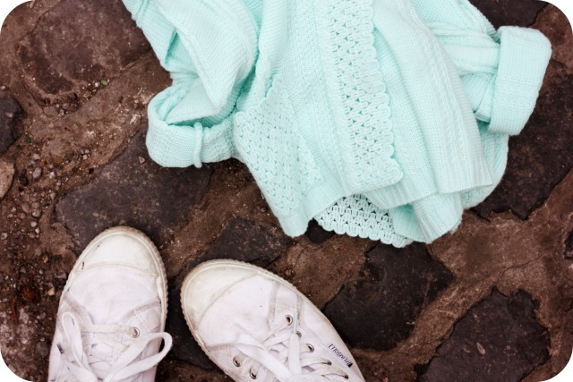 Mint cardigan and white plimsoles