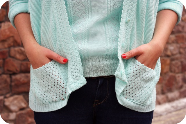 Mint twinset and coral nails