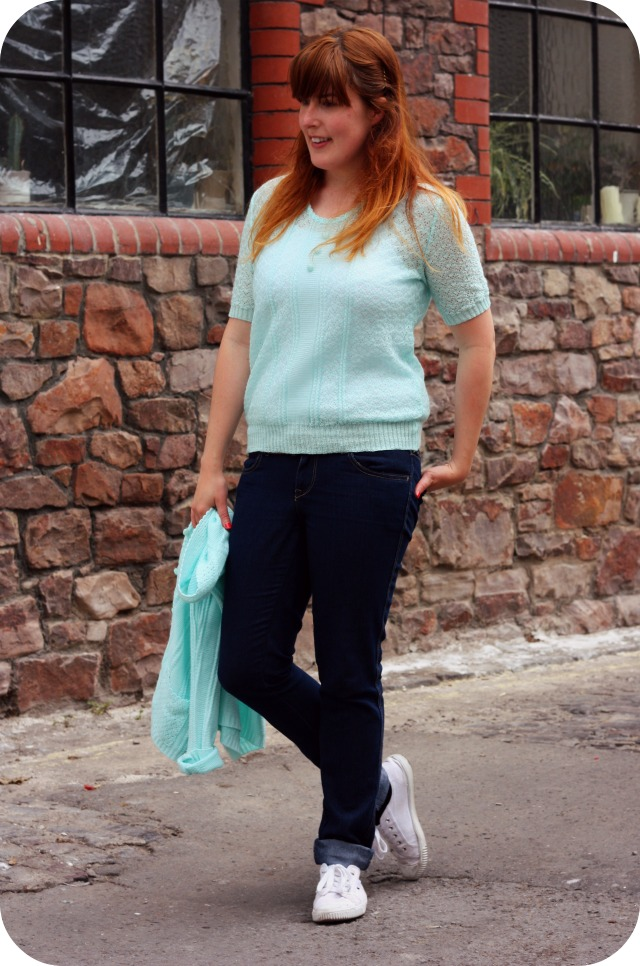 Mint twinset and indigo jeans