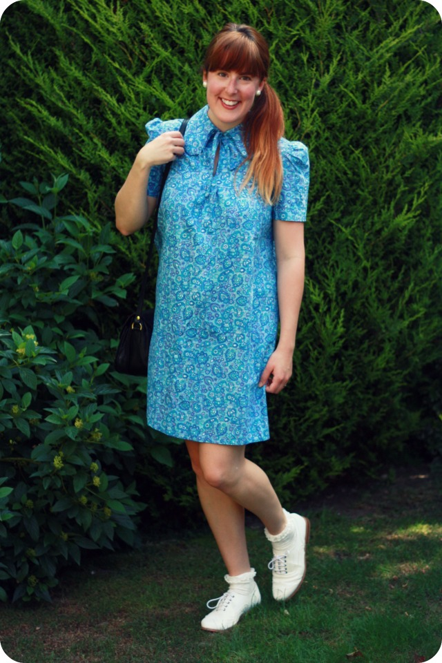 Vintage blue paisley dress
