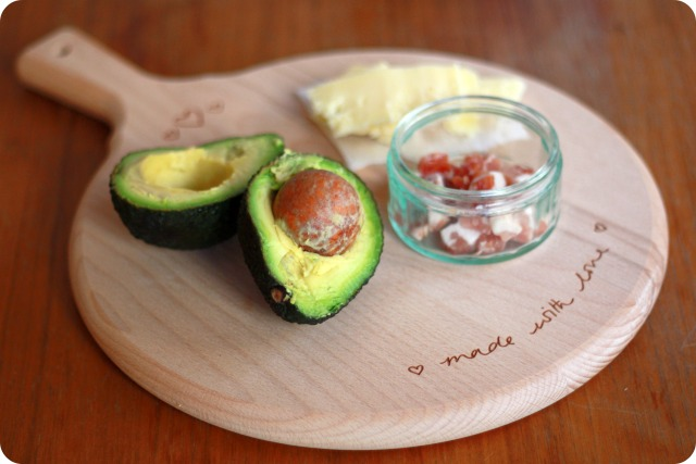 Avocado and pancetta toast ingredients