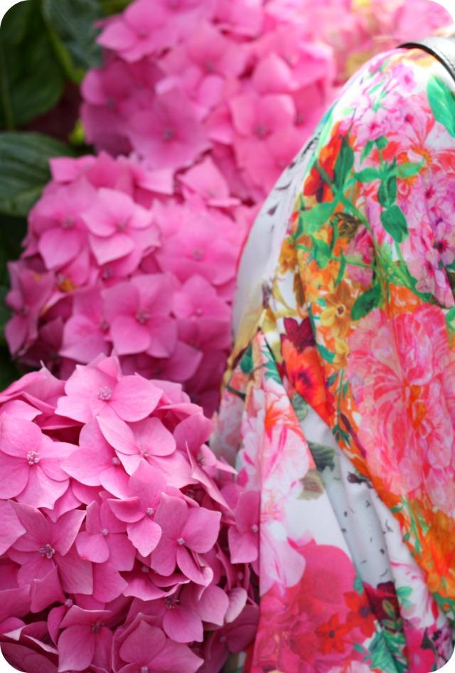 Floral kimono and pink hydrangias