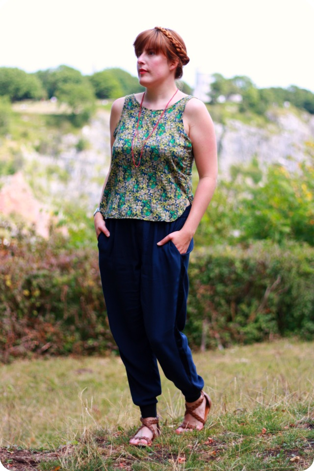 Pull and bear floral vest and Zara trousers