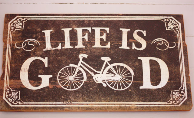 Life is good cycle sign
