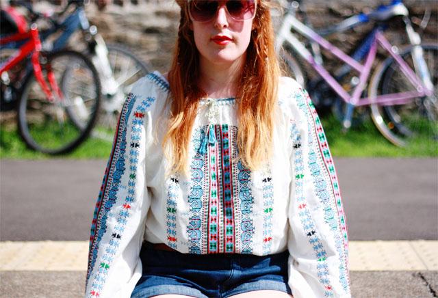 vintage cross stitch white blouse