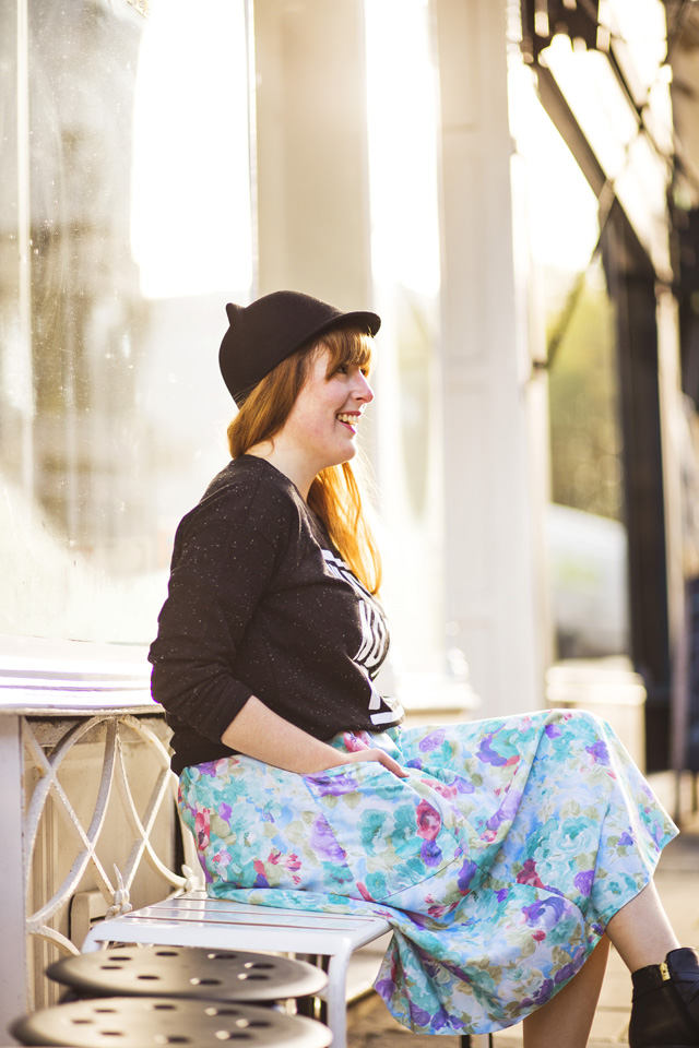 Vintage floral skirt and cat hat