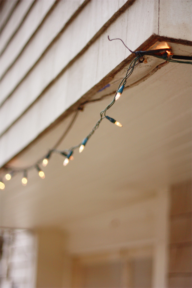 Fairy lights on the porch