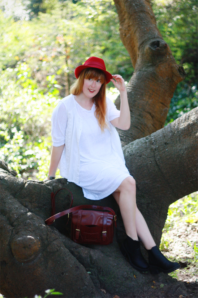 Red and white Zara outfit