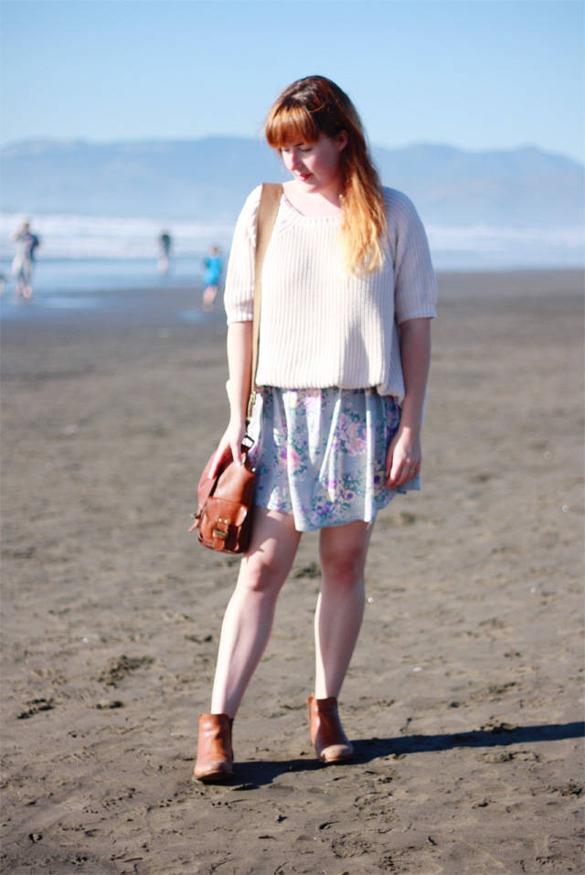 Chunky knit jumper and floral dress
