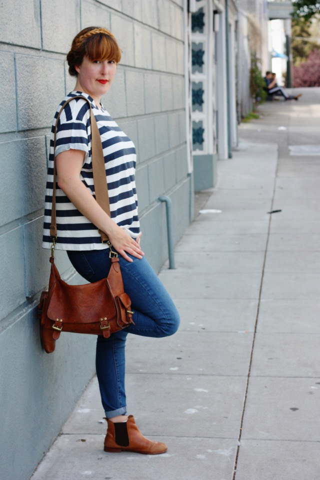 Casual denim and Breton t-shirt outfit
