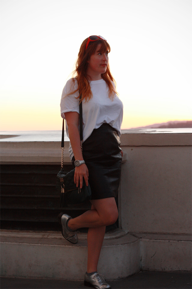 LA style vintage black leather skirt and white t-shirt