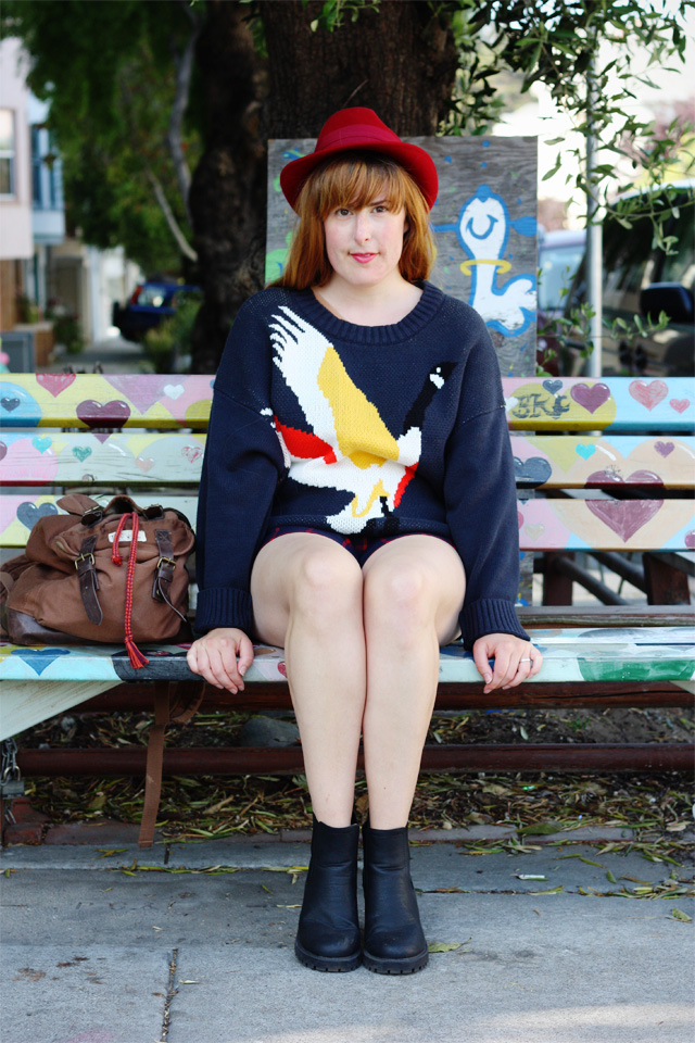 Navy jumper and shorts outfit