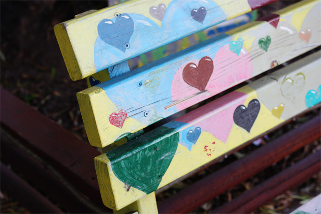 Painted hearts bench