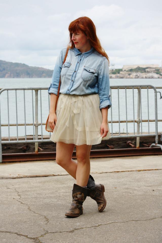 Denim shirt and tulle skirt