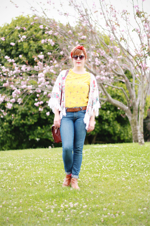 Denim jeans and floral prints