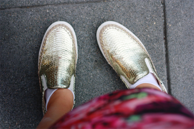 Gold mock croc Zara shoes