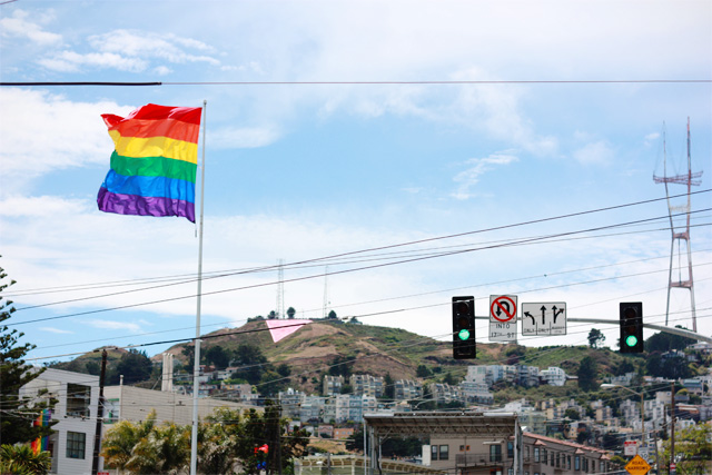 Rainbow flag agaisnt Twin Peaks