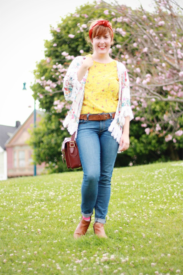 Vintage headscarf and Paige jeans