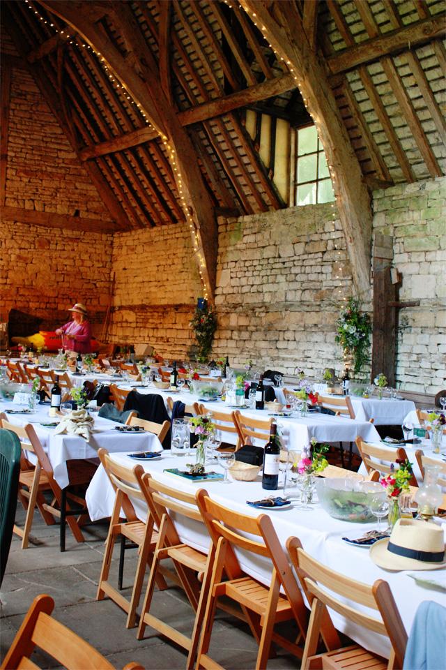 Wedding tressel tables ready for dinner