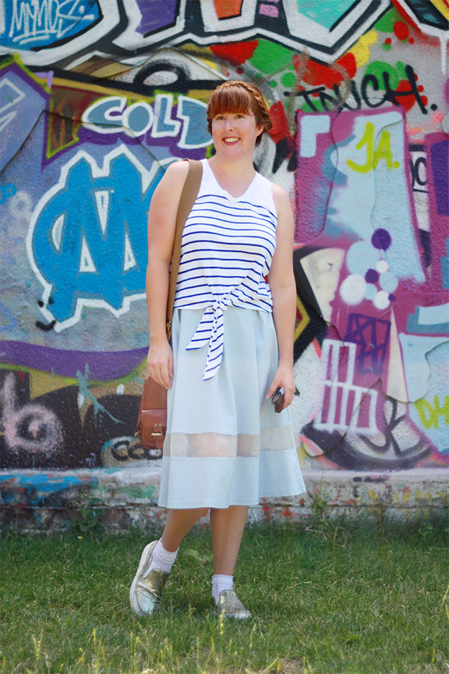 Zara stripe t-shirt and Topshop midi skirt