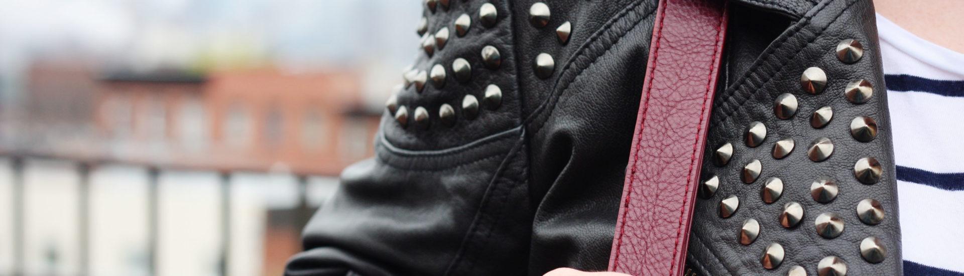 Leather studded biker jacket
