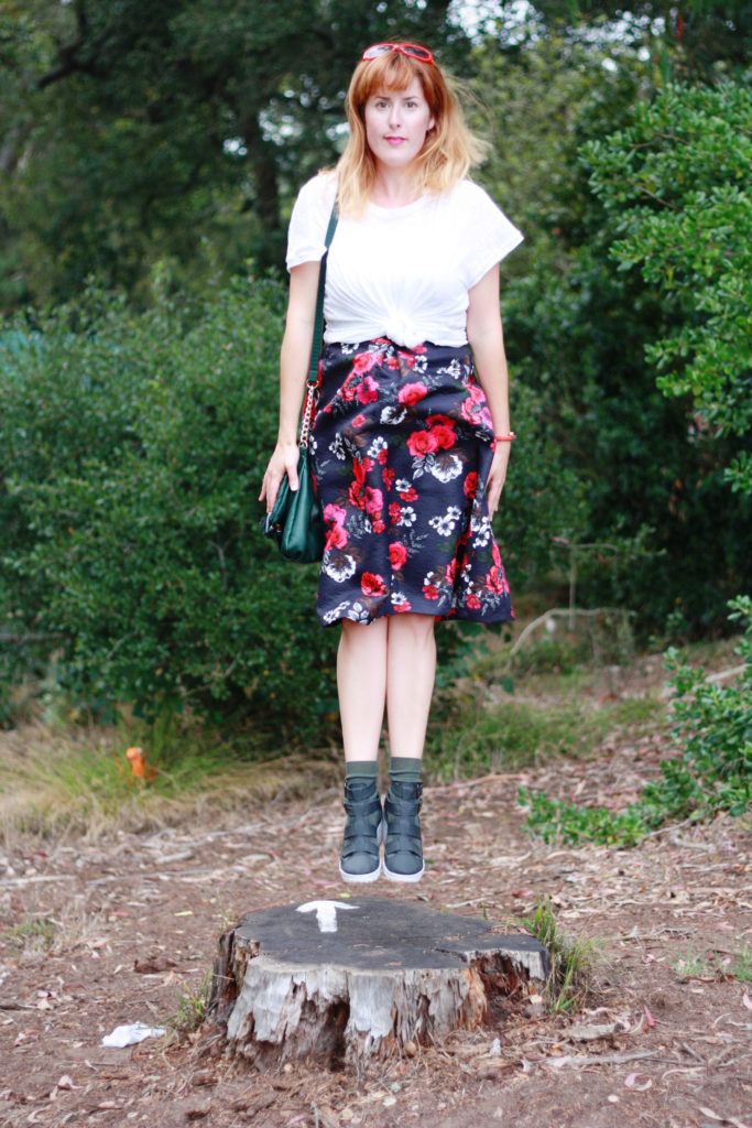 White t-shirt floral skirt ootd