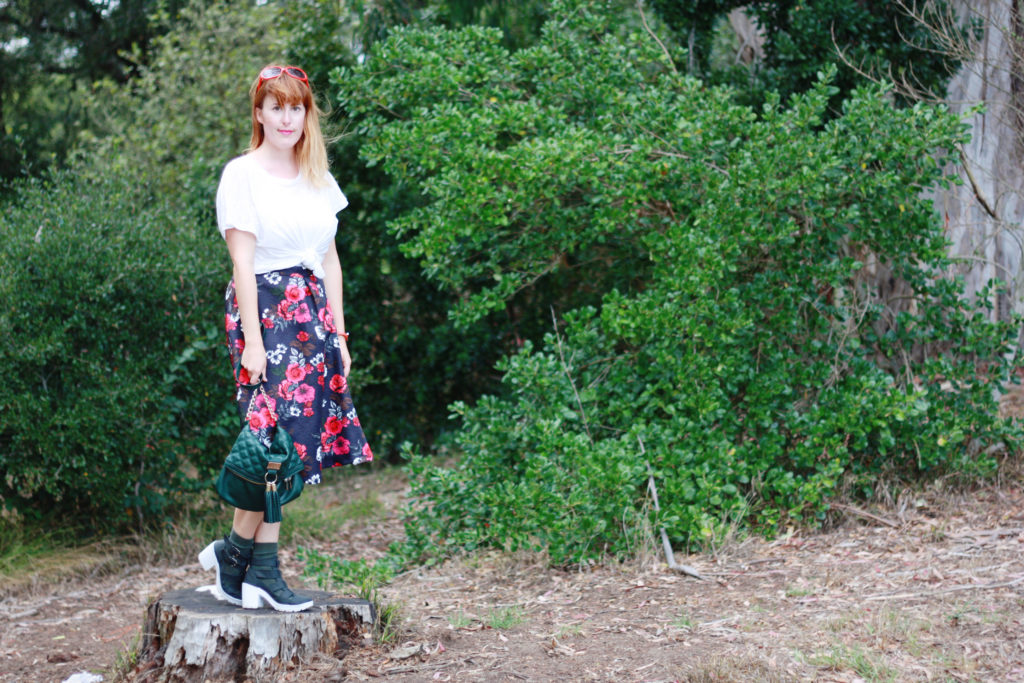 White t-shirt floral skirt woodland ootd