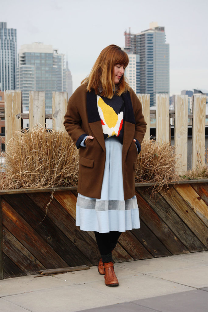 Zara coat and Manhattan skyline