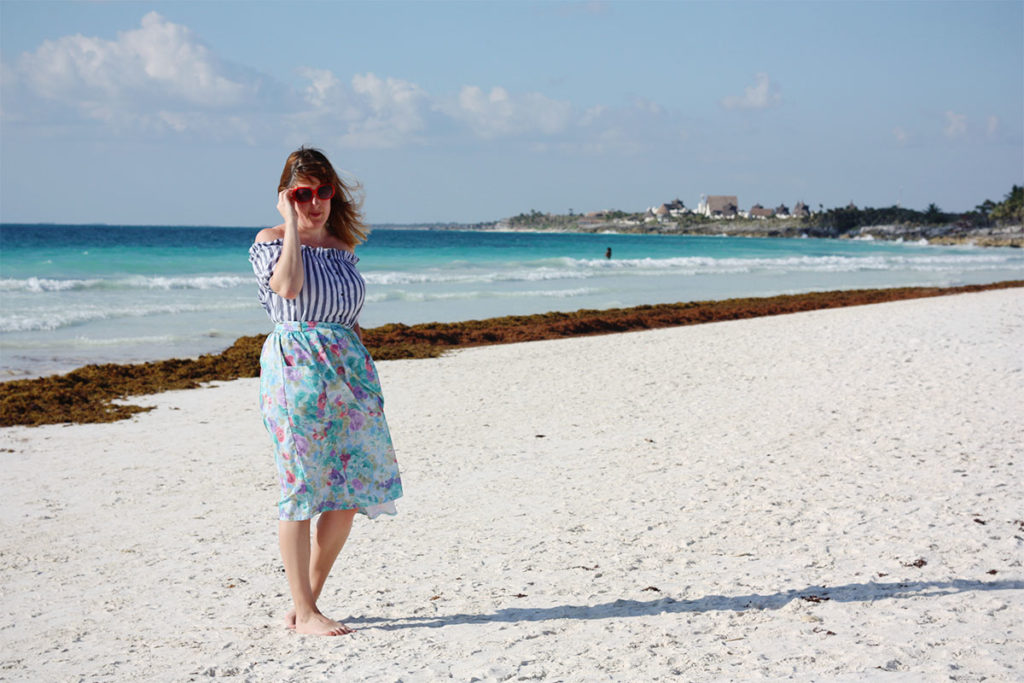 Bardot top and vintage skirt in Tulum