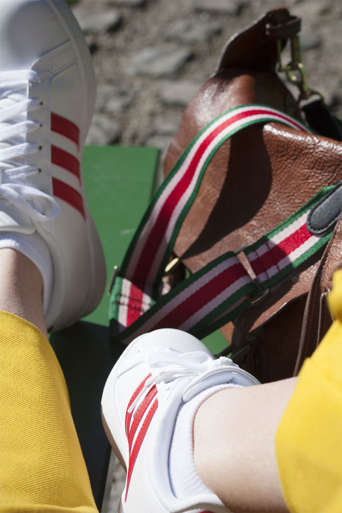 Adidas trainers and Mulberry bag