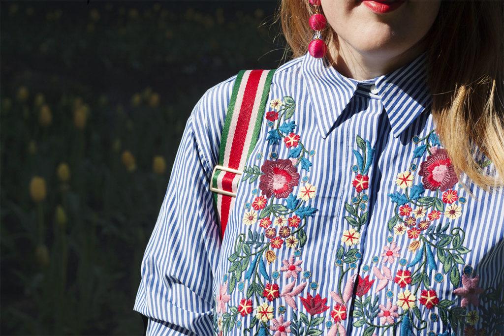 Zara floral embroidered shirt