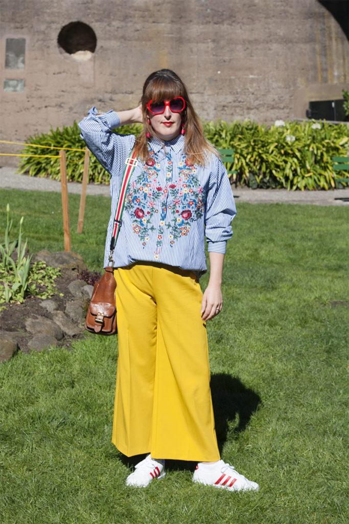 Zara shirt and mustard trousers