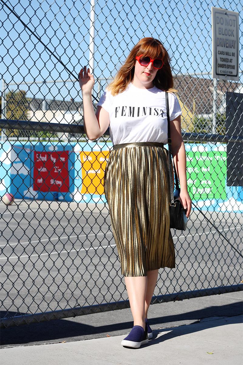 Topshop gold skirt OOTD