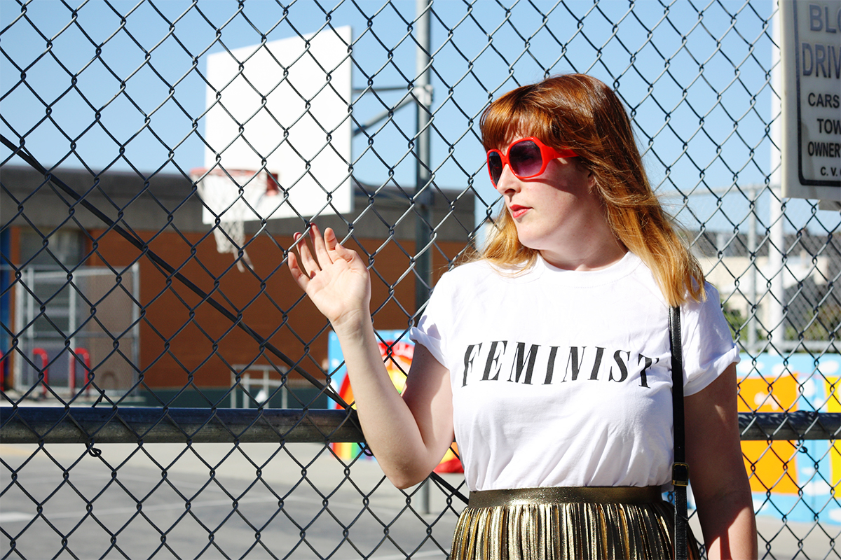 Topshop gold skirt and feminist t-shirt