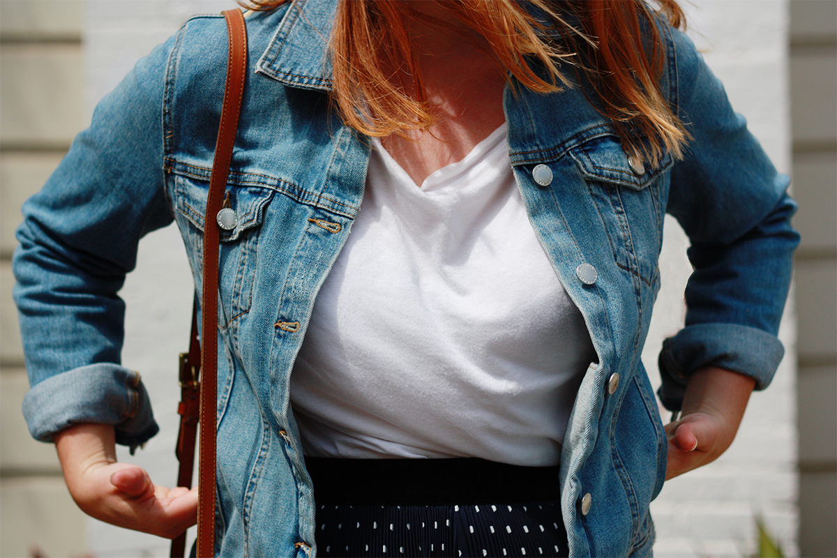 Zara denim jacket and white tshirt
