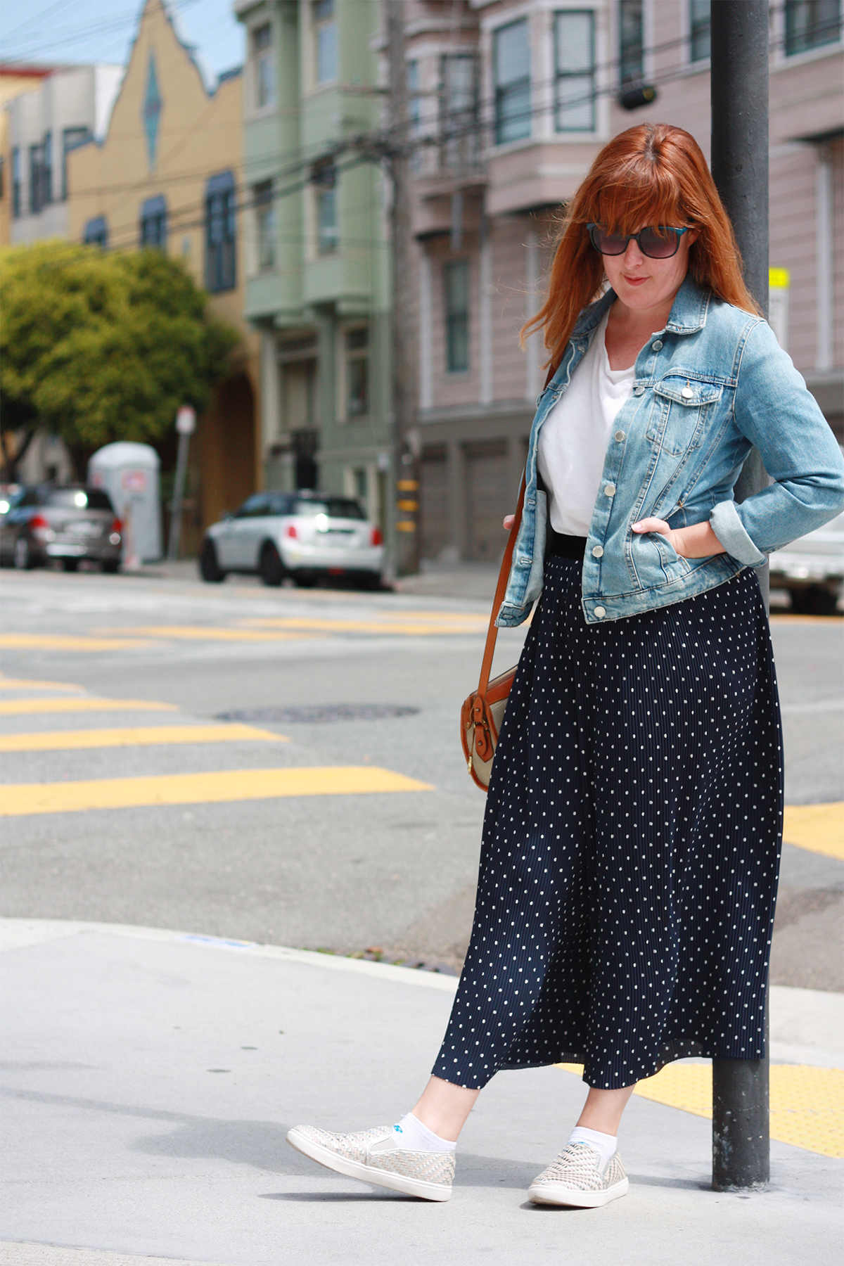 Zara wide leg trousers and denim jacket