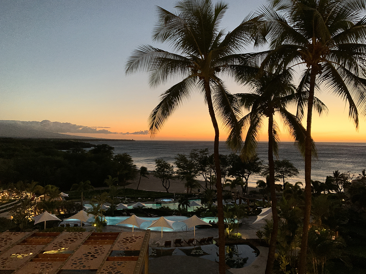 Hapuna Beach Resort at sunset