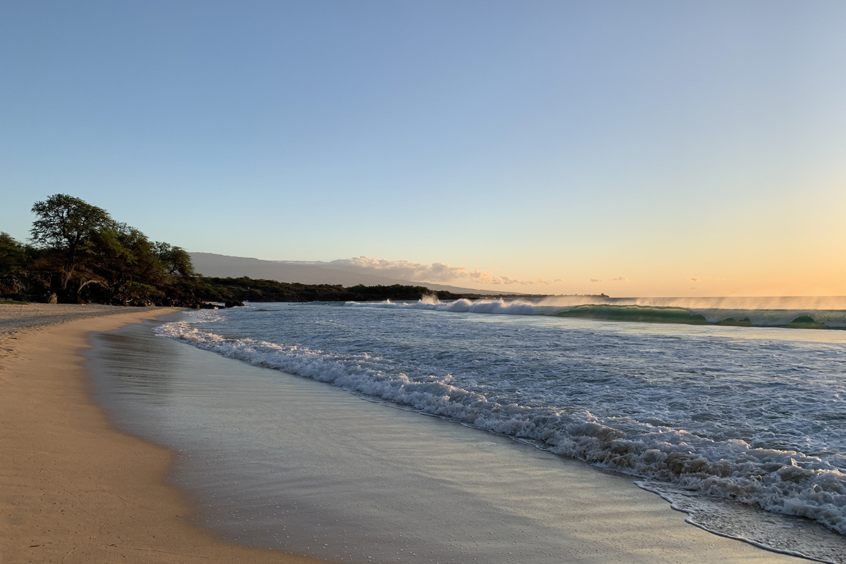 Hapuna Beach at sunset