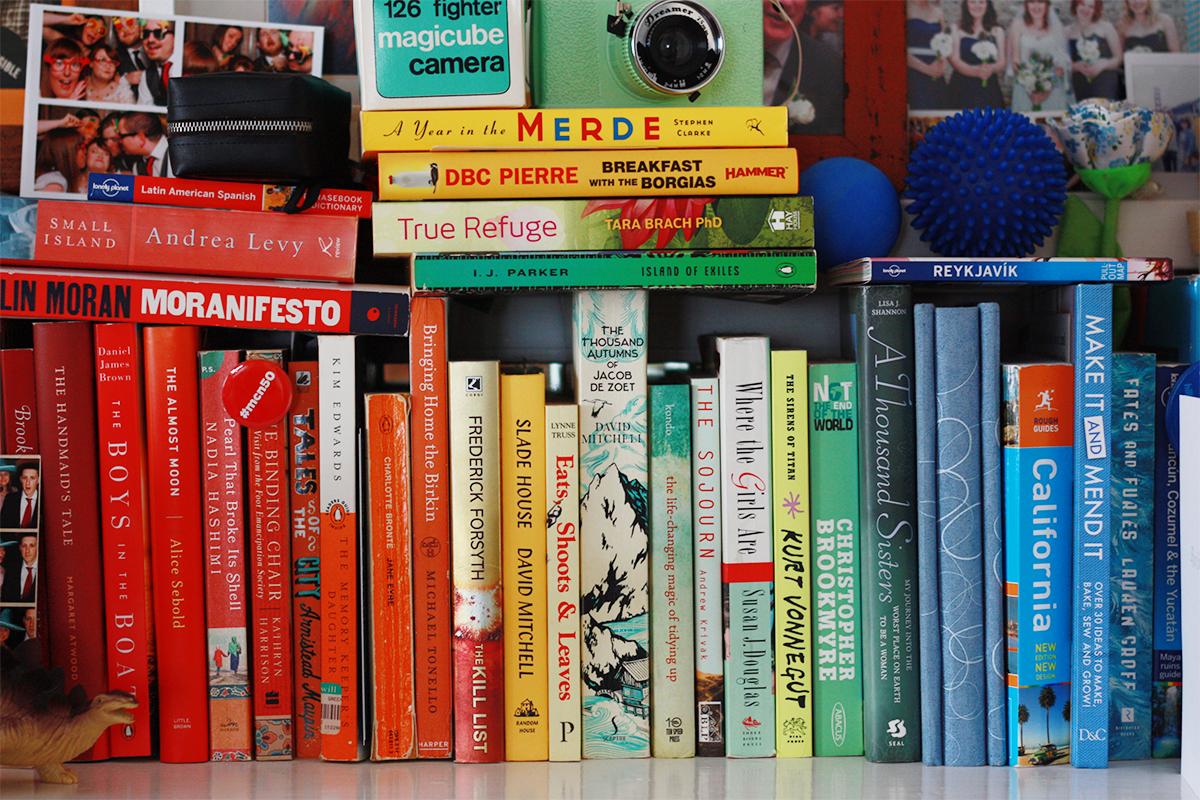 Colour coded bookshelf